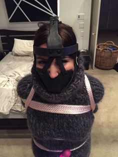 The thick sweater made the ropes more comfortable, & with the heavy muzzle gag tightly fastened there would be no snoring & she was ready for bed. Turtleneck Outfit, Thick Sweaters, Puffy Jacket, Down Parka, Sweater Making, Catsuit, Submissive, Turtle Neck, Wool