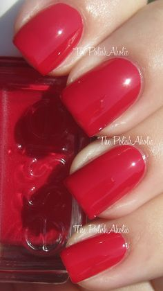 She's Pampered is a medium/dark red creme. From Essie's Winter 2012 collection.