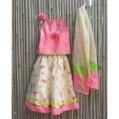 Bird Print Halter Lengha Set by Two Feet - kidswear - kid's lengha - kid's lehenga set - designer wear - kids clothes sale online - kids Indian ethnic fashion - buy ethnic wear for kids - girl ethnic wear clothing - children ethnic dresses online - kid's salwar kameez designs - kids ethnic wear designs online shopping #ExclusivelyIn #Beautiful #Pretty #Colorful #Multicolor - Occasion Wear