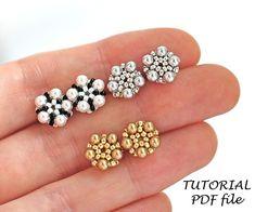 Beaded stud earring pattern Earrings tutorial Seed bead | Etsy Easy Beading Tutorials, Seed Bead Bracelets Tutorials, Beaded Bracelets Tutorial, Earring Tutorial, Crochet Earrings Pattern, Beaded Necklace Patterns, Beaded Jewelry, Bead Patterns, Weaving Patterns