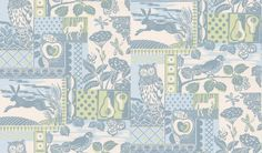 Brightwood+(J133W-03)+-+Jane+Churchill+Wallpapers+-+A++traditional+and+rustic+design+depicting+country+scenes,+animals+and+trees+that+was+originally+printed+from+a+lino+printing+block.+Shown+here+in+an+aqua+colourway.+Please+request+sample+for+true+colour+match.+