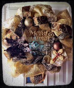 Posh Christmas Wreath with leopard print accents by williamsthings