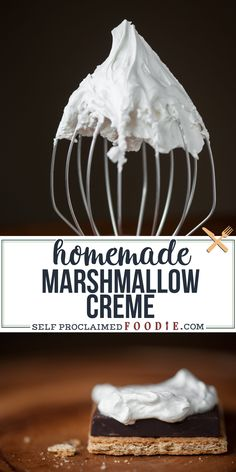 Why buy the artificial flavor and color stuff at the store when Homemade Marshmallow Creme is super easy and fun to make in your own kitchen? Marshmellow Cream Recipes, Marshmallow Frosting, Homemade Frosting, Frosting Recipes, How To Make Marshmallows, Recipes With Marshmallows, Homemade Marshmallows, Easy No Bake Desserts, Delicious Desserts