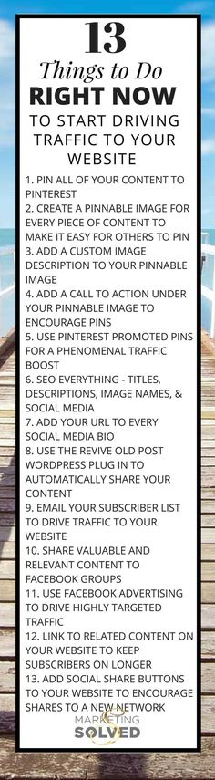 13 Things You Need to Do Right Now to Start Driving Traffic To Your Website - Grab the PDF at Marketing Solved Pinterest Tips for Small Businesses   Social Media Marketing Strategies For Small Businesses   Social Media Marketing Info for Small Business Owners www.MaritimeVintage.com #SocialMediaMarketingStrategies #socialmediatips #socialmediamarketingbusiness #pinterestmarketing