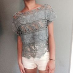 WENT ON SALE Silver blue Lace paneled crochet top This top features a unique color and design. Looks great with a white bottom! Worn once. Urban Outfitters Tops