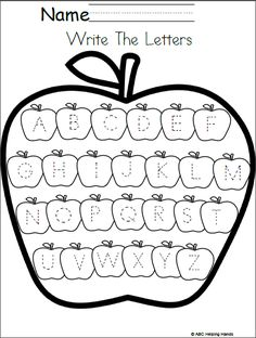 Free Editable Letter Writing Worksheet Apples Theme This worksheet has traceable uppercase letters for your students to practice. You can also edit this worksheet for more fun and practice using A… Preschool Writing, Preschool Printables, Preschool Learning, Kindergarten Worksheets, In Kindergarten, Preschool Activities, Teaching, Phonics Worksheets, Learning Letters