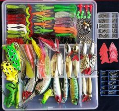 Smartonly 275pcs Fishing Lure Set Including Frog Lures Soft Fishing Lure Hard Metal Lure VIB Rattle Crank Popper Minnow Pencil Metal Jig Hook for Trout Bass Salmon with Free Tackle Box -- See this great product.