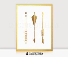 Arrows GOLD FOIL PRINT 8x10 or 5x7 Tribal by digibuddhaPaperie
