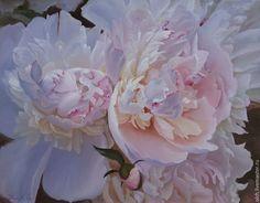 """Купить картина маслом """"Пионы бело-розовые"""" - цветы, белый, натюрморт, картина в подарок, пионы"""