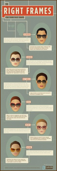 What's your shape? Find the best fitting sunglasses for your face shape with our new infographic for ADS Eyewear.   http://spacechimpmedia.com/infographic-design/  #sunglasses #face #shape #infographic #spacechimpmedia