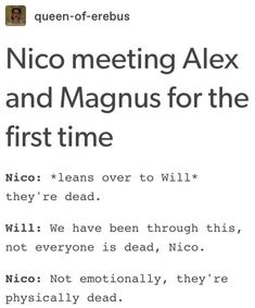 Magnus *sweating profuesly*: Shit he's onto us, guys Alex: I'm a Girl now, Magpie Magnus: Run everyone (btw took this from another comment on post and thought it was funny so used it here. Percy Jackson Quotes, Percy Jackson Books, Percy Jackson Fandom, Magnus Chase, Rick Riordan Series, Rick Riordan Books, Solangelo, Percabeth, Alex Fierro