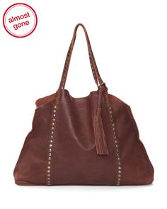 Studded+Leather+Tote+With+Tassel