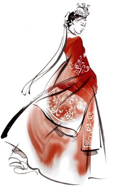 Hanbok illustration by Katharine Asher Korean Traditional Dress, Traditional Fashion, Traditional Art, Traditional Outfits, Korean Illustration, Fashion Illustration Sketches, Fashion Sketches, Illustration Art, Japanese Fashion