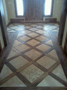 Ideas For Flooring Slate Entryway Flur Design, Beton Design, Wood Floor Design, Tile Design, Tile Floor Designs, Wood Look Tile Floor, Entryway Flooring, Entryway Decor, Entryway Tile Floor
