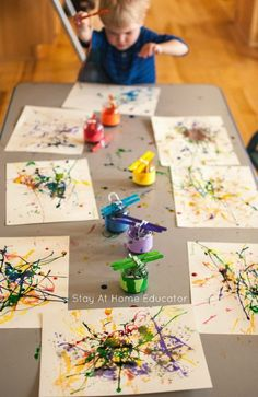 Painting with yarn process art activity for toddlers and preschoolers, too #artsandcraftsfortoddlers,
