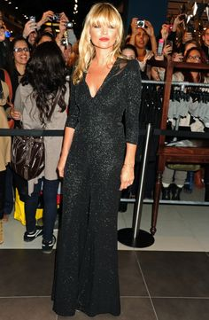 Kate Moss Launches Her Final Topshop Line in a Wild Jumpsuit Kate Moss, 70s Costume, Black Jumpsuit, Wedding Season, Bangs, Jumper, Topshop, Product Launch, Hair