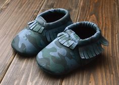 Baby camo moccasins
