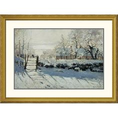 """Global Gallery 'The Magpie' by Claude Monet Framed Painting Print Size: 30.1"""" H x 40"""" W x 1.5"""" D"""
