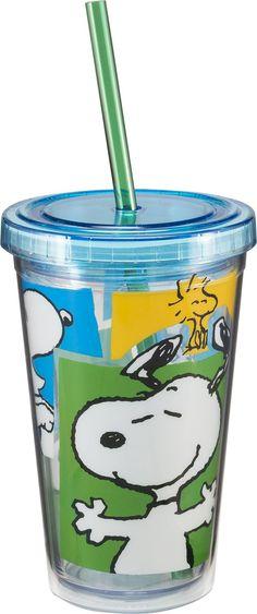 Vandor 85014 Peanuts Snoopy 12 oz Acrylic Travel cup with Lid and Straw, Multicolor