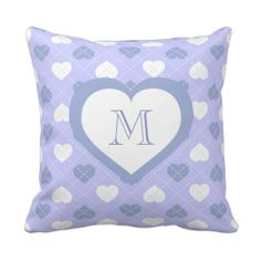 Monogram sky blue and white heart argyle pattern pillow.  Baby shower gift for baby boy. Option to change background color.  #heartwarestore  => http://www.zazzle.com/argyle_sky_blue_and_white_heart_pattern_monogram-189316240770071698?CMPN=addthis&lang=en&rf=238590879371532555&tc=pinHPargyleskybluewhiteM