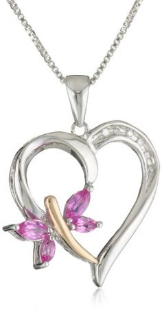 XPY Sterling Silver and 14k Rose Gold Created Pink Sapphire and Diamond-Accent Butterfly Heart Pendant Necklace, 18