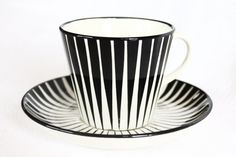 Black Zebra Upsala Ekeby Gefle cup and saucer. The set was designed by Eugen Trost in the late and made by Upsala-Ekeby Gefle in Sweden.