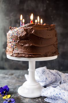 Vanilla Birthday Cake with Whipped Chocolate Buttercream- fluffy & moist with an intense vanilla flavor. Perfect start to the weekend! @halfbakedharvest.com