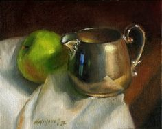 Granny Smith Apple with Sterling Silver Creamer 8 10 in. Original Oil on canvas, painting by artist Hall Groat II