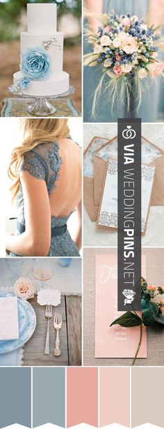 So cool! - Wedding Colour Schemes 2017 - Perfect for a Summer Day - a Blue, Peach Dusky Rose Pink Wedding Color Palette | http://www.onefabday.com | CHECK OUT SOME FANTASTIC PICTURES OF TASTY Wedding (Cool Pictures Collages)