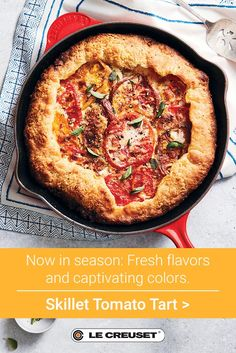 Now in season: Fresh flavors and colorful cookware. Explore Le Creuset's top-rated recipes and best-selling kitchenware now. Tart Recipes, Fruit Recipes, Vegetable Recipes, Summer Recipes, Cooking Recipes, Recipies, Vienna Food, Tomato Tart Recipe, Appetizer Salads