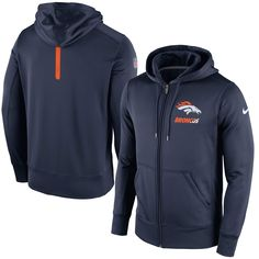 1d920449a Denver Broncos Nike Sideline Full-Zip Performance Hoodie - Navy Blue