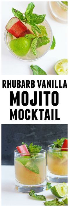 Rhubarb vanilla mojito mocktail recipe! A delicious, alcohol-free twist on the classic mojito cocktail made with YES Beverage's rhubarb vanilla mixer. SO GOOD!