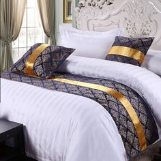 Yazi Bed Runner Scarf Home Hotel Bedroom Bedding Cotton Slipcover Pillowcase Blue Bedding Sets, Comforter Sets, Bedroom Bed, Bedroom Decor, Bed Cover Design, Bed Scarf, Embroidered Bedding, Hotel Bed, Bed Runner
