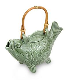 Ceramic teapot, 'Lucky Koi' - Ceramic Fish Teapot from Indonesia Pottery Teapots, Ceramic Teapots, Ceramic Art, Pottery Art, Koi, Teapot Design, Teapots And Cups, Tea Service, Porcelain Ceramics