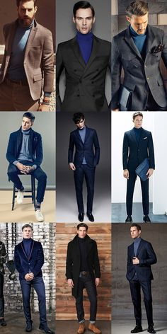 The versatility of the roll neck combo. Simultaneously suave and casual. Blue Jeans Outfit Men, Blue Jean Outfits, Polo Outfit, Blue Suit Men, Navy Blue Suit, Blue Suits, Turtleneck Suit, Turtle Neck Men, Stylish Mens Outfits