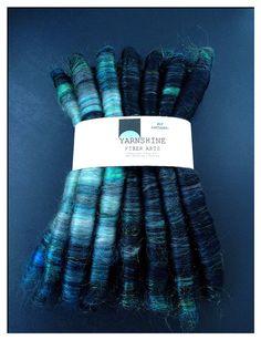 SEA SIREN Wool/Camel/Silk/Bamboo Rolag Set Ply by YARNSHINE, $30.00