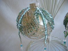 Hand Stitched Silver and Light Blue Crystal by AcadianGlassArt