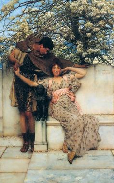 Promise of Spring - Artist: Sir Lawrence Alma-Tadema Style: Romanticism Genre: genre painting Technique: oil Gallery: National Gallery of Canada, Ottawa, Canada Lawrence Alma Tadema, Pre Raphaelite Paintings, Art Ancien, Winter Painting, Oil Painting Reproductions, Victorian Art, Classical Art, Classical Antiquity, Illustrations