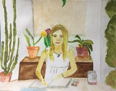 Drawing from life: looking at the screen and at Leah by Andrea Troncoso