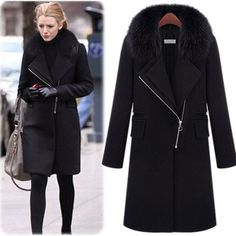 Fur Coat New 2015 Women Blends Overcoat Trench Coat For Women Faux Fox Fur Collar Coat Parkas For Women Winter Casacos Femininos