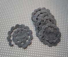 Twelve smoke gray felt flower rosette DIY felt die by WhimsyFelt
