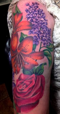Lilac and Tiger Lily Sleeve  - Tattoo Artist Amy Ausiello