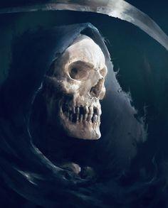 The dark and macabre fantasy paintings of digital artist Antonio José Manzanedo (previously), a concept designer and illustrator based in Spain. Dark Artwork, Skull Artwork, Tattoo Caveira, Grim Reaper Art, Skull Reference, Totenkopf Tattoos, Arte Obscura, Vampire, Angel Of Death