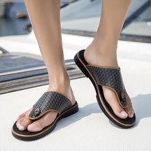 2016 nueva moda trabajo hecho a mano para hombre cuero genuino de la vaca suela de goma flip zapatillas de verano zapatos sexy 2062-1(China (Mainland))