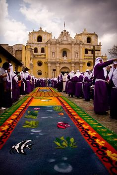 Church La Merced at Antigua Guatemala, during a procession