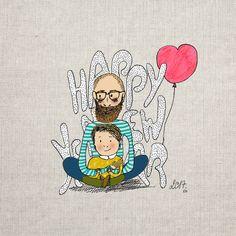 © Elise Mathieu illustration - Happy new year - 2017 - Dessin - à la main - Enfant - Baby - roux - Coeur - Barbe - Red