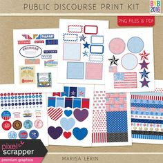 Public Discourse Print Kit Project Life, Digital Scrapbooking, Public, Kit, Projects, Crafting, Politics, Printable, Pocket