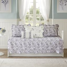 You'll love the vintage floral design of this beautiful Madison Park daybed set. Ruffle Bedding, Twin Comforter, Bedding Sets, Daybed Cover Sets, Daybed Sets, Guest Bedroom Decor, Quilt Sets, Love Seat, Lavender