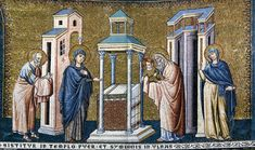 Pietro Cavallini, Presentation in the Temple, mosaic. Santa Maria in Trastevere, Rome Web Gallery Of Art, Late Middle Ages, Byzantine Art, Italian Painters, European Paintings, Santa Maria, Medieval Art, Gothic Art, Middle Ages