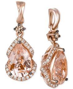 Le Vian® Peach Morganite™ and Vanilla Diamonds® Drop Earrings in 14k Strawberry Gold®- Le Vian Shop - Jewelry & Watches - Macy's